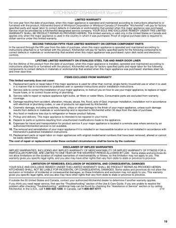 KITCHENAID® REFRIGERATOR WARRANTY