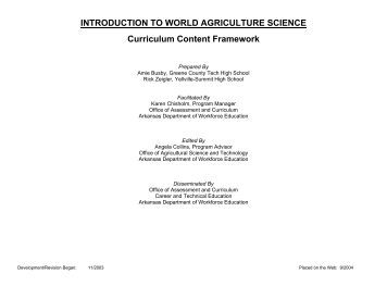 Introduction to world agriculture science curriculum content framework