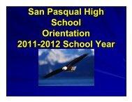 San Pasqual High School Orientation 2011-2012 School Year
