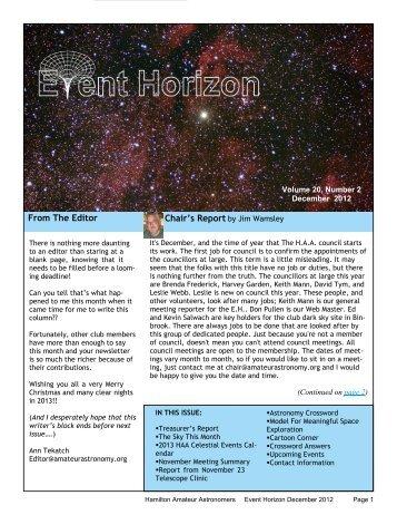 December - Hamilton Amateur Astronomers