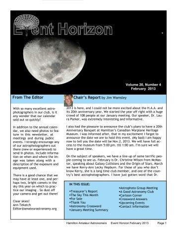 February - Hamilton Amateur Astronomers