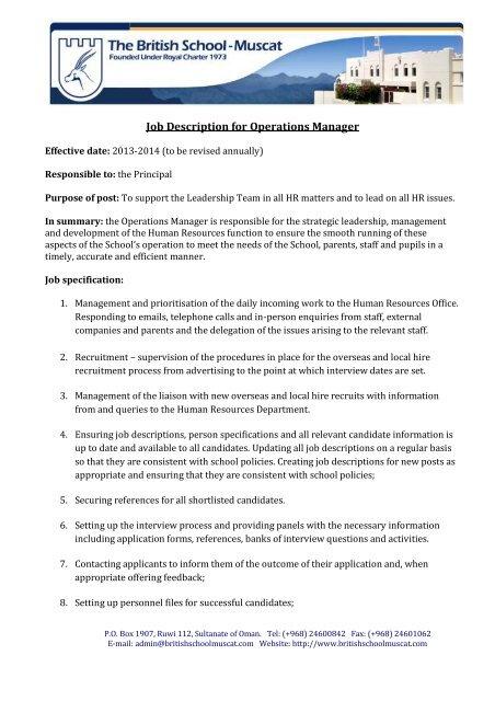 Job Description for Operations Manager - British School Muscat