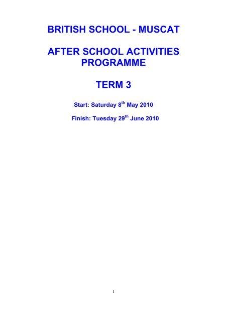 british school - muscat after school activities programme term 3