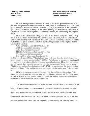 The Holy Spirit Renews - First Christian Church