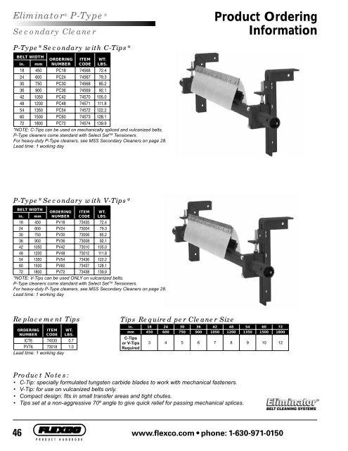 46 Product Ordering Information Eliminator® P-Type - Flexco