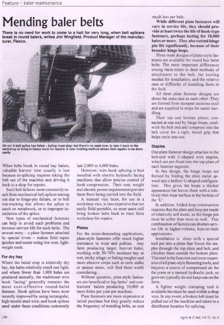 Mending Baler Belts - Agriculture & Equipment International