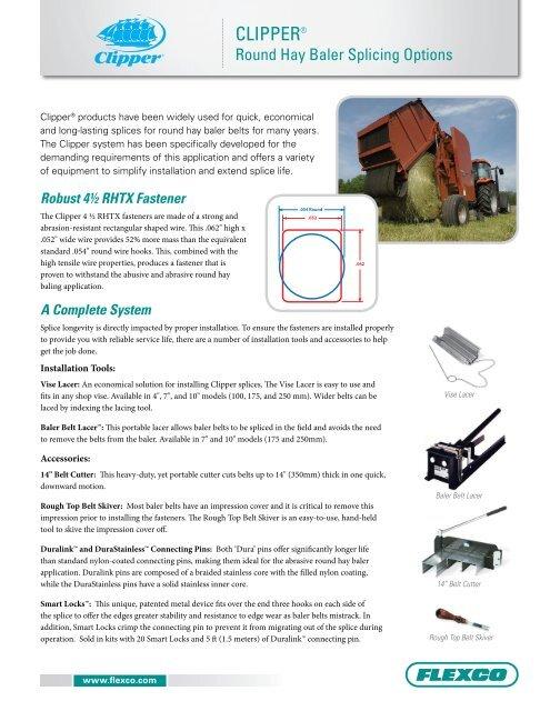 Round Hay Baler Splicing Options - Flexco