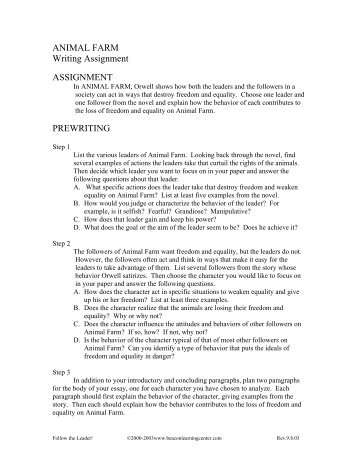 animal farm assignment essay essay Get free homework help on george orwell's animal farm: book summary, chapter summary and analysis, quotes, essays, and character analysis courtesy of cliffsnotes animal farm is george orwell's satire on equality, where all barnyard animals live free from their human masters' tyranny.