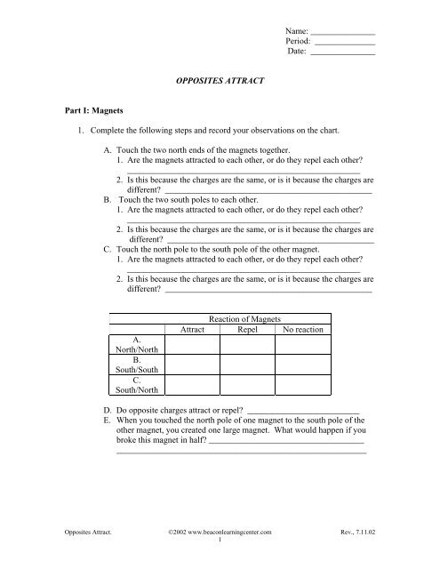 A student worksheet and answer guide. - Beacon Learning Center