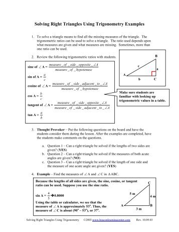 13 1 Notes Right Triangle Trigonometry Teachertebook