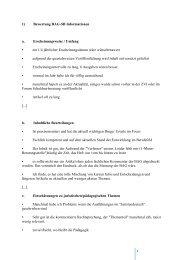 1) Bewertung BAG-SB Informationen a. Erscheinungsweise ...