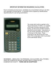 Calculator Instructions for TI - Saskatchewan Apprenticeship and ...