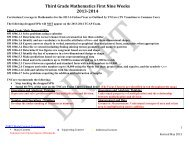 Third Grade Mathematics First Nine Weeks 2013-2014