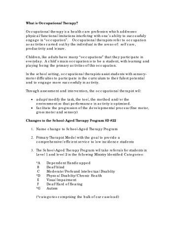 Aged Therapy Program SD#22 2009-10 - School District 22 Vernon