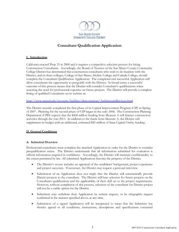Construction Consultant Application - San Mateo County Community ...