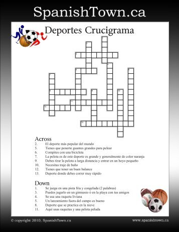 Spanish Crossword Puzzle - Sports - SpanishTown