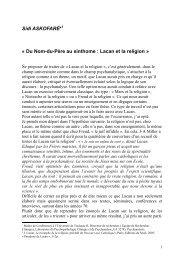 Sidi ASKOFARÉ* « Du Nom-du-Père au sinthome : Lacan et la ...