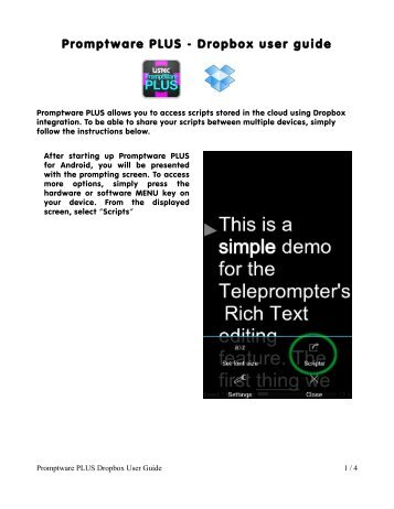 Promptware PLUS - Dropbox user guide - Tiffen