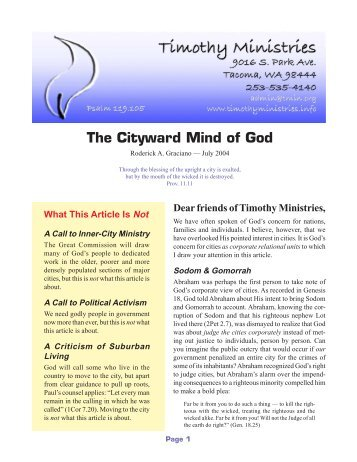 The Cityward Mind of God - Timothy Ministries
