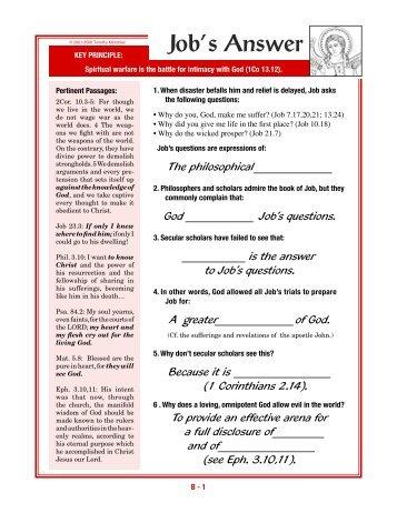 Spiritual Warfare Syllabus: Section B - Timothy Ministries