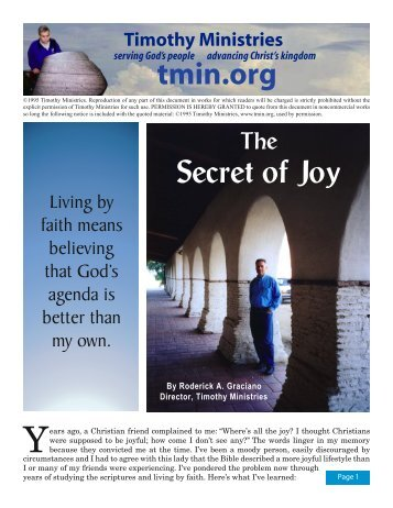 The Secret of Joy - Timothy Ministries