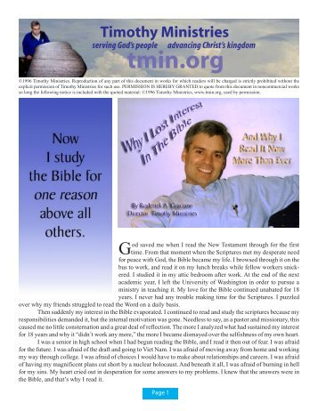 Why I Lost Interest In The Bible - Timothy Ministries