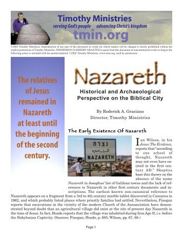 Nazareth - Timothy Ministries