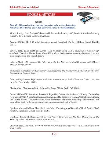 Spiritual Warfare Syllabus: Section F - Timothy Ministries