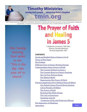 The Prayer of Faith and Healing In James 5 - Timothy Ministries