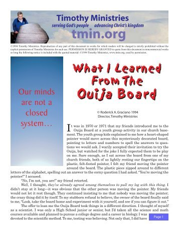 What I Learned From The Ouija Board - Timothy Ministries