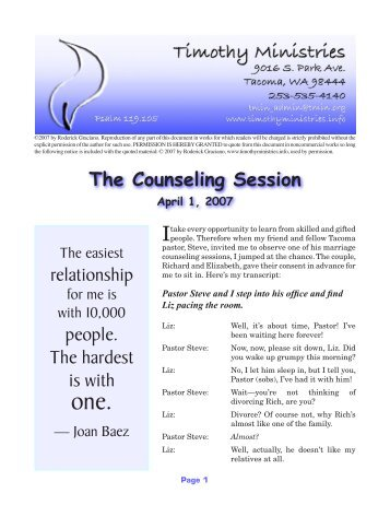 The Counseling Session relationship people ... - Timothy Ministries