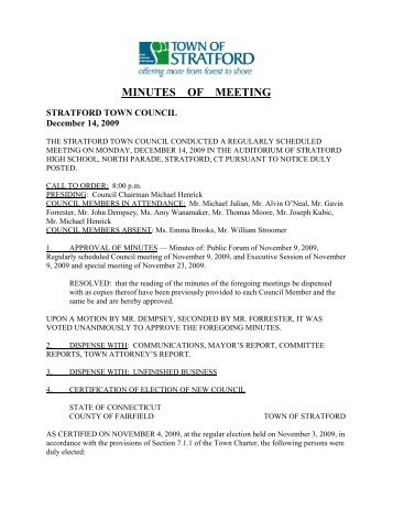 Special Meeting Minutes Town Of Stratford
