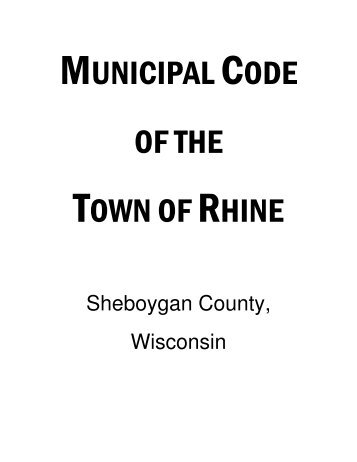 Table of Contents - Town of Rhine in Sheboygan County, Wisconsin