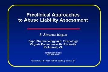 Preclinical Approaches to Abuse Liability Assessment