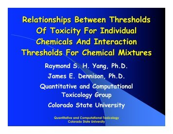 Relationships Between Thresholds Of Toxicity For Individual ...