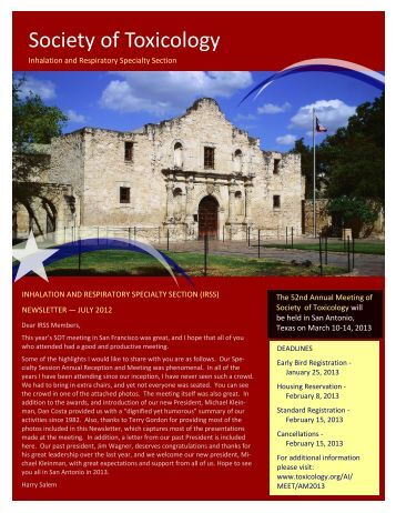 July 2012 Newsletter - Society of Toxicology