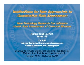 Implications for New Approaches to Quantitative Risk Assessment