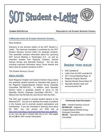 Summer 2010 - Society of Toxicology
