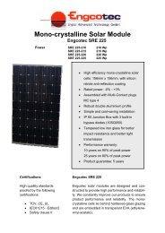 Engcotec Solar module SRE 225 - Data Sheet - Engcotec Gmbh