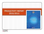 PRODUCTIVITY REPORT 2010/2011 - MPC