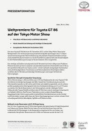 Weltpremiere für Toyota GT 86 auf der Tokyo Motor Show
