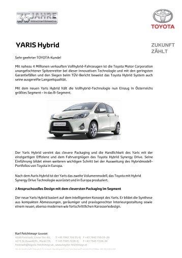 Kundeninfo Yaris Hybrid - Toyota Feichtmayr