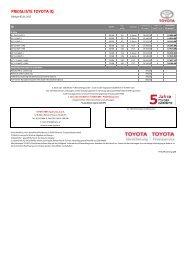 Preisliste hier.. - Toyota Feichtmayr