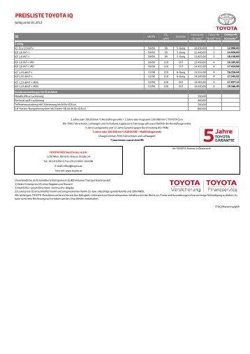 PREISLISTE TOYOTA IQ - Toyota Feichtmayr