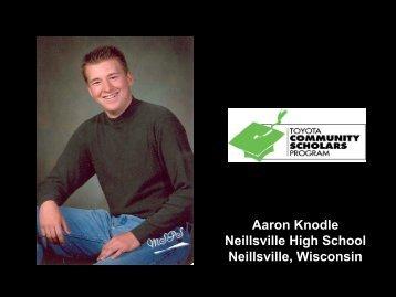 Aaron Knodle Neillsville High School Neillsville, Wisconsin - Toyota