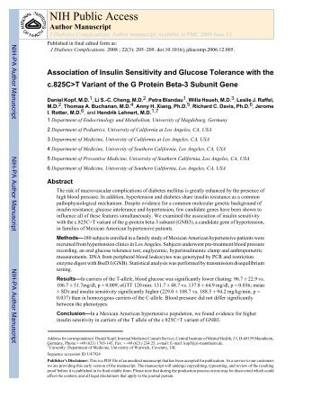 Association of Insulin Sensitivity and Glucose Tolerance with the.pdf