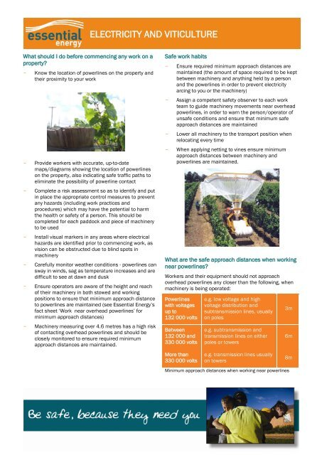 Viticulture Electrical Safety Fact Sheet - Essential Energy
