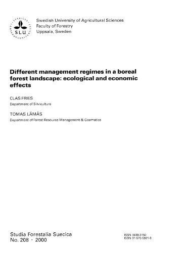 Different management regimes in a boreal forest ... - Epsilon - SLU
