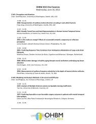 Wednesday, June 19th, 11:00-12:30 - Organization for Human Brain ...
