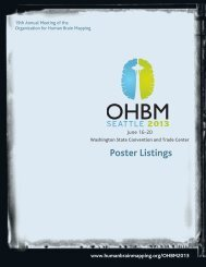 2013 Poster Listings - Organization for Human Brain Mapping